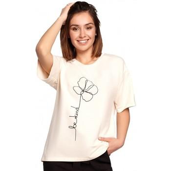 Îmbracaminte Femei Topuri și Bluze Be B187 Tricou cu imprimeu cu flori - crem