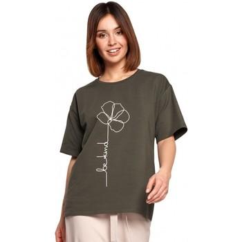 Îmbracaminte Femei Topuri și Bluze Be B187 Tricou cu imprimeu cu flori - verde militar