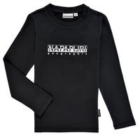 Îmbracaminte Băieți Tricouri cu mânecă lungă  Napapijri S-BOX LS Negru