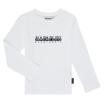 Îmbracaminte Băieți Tricouri cu mânecă lungă  Napapijri S-BOX LS Alb