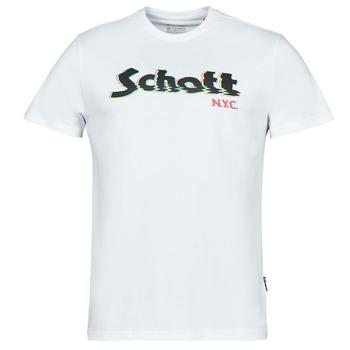 Îmbracaminte Bărbați Tricouri mânecă scurtă Schott TSLOGOELEK Alb