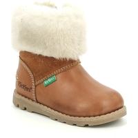 Pantofi Fete Cizme de zapadă Kickers Chaussures bébé  Nonofur camel brillant