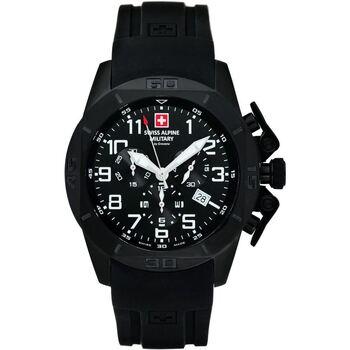 Ceasuri & Bijuterii Bărbați Ceasuri Analogice Swiss Alpine Military 7063.9877, Quartz, 45mm, 10ATM Negru