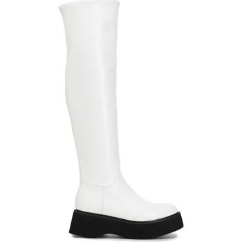 Pantofi Femei Cizme lungi peste genunchi Café Noir FL9030 Alb