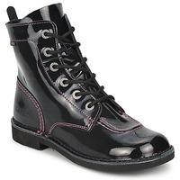 Pantofi Fete Ghete Kickers KICK MOOD Negru / Lac
