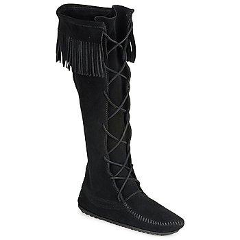 Pantofi Femei Cizme casual Minnetonka FRONT LACE HARDSOLE KNEE HI BOOT Negru