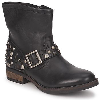 Pantofi Femei Ghete Pieces ISADORA LEATHER BOOT Negru