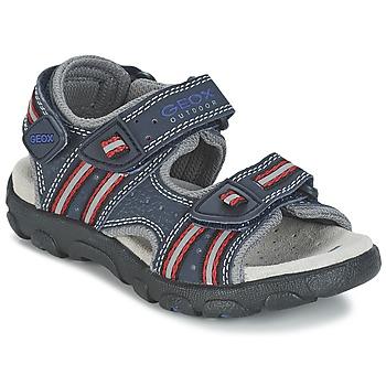 Pantofi Fete Sandale sport Geox S.STRADA A Bleumarin / Roșu