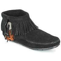 Pantofi Femei Ghete Minnetonka CONCHO FEATHER SIDE ZIP BOOT Negru