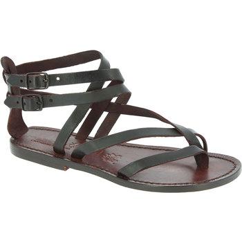 Pantofi Femei Sandale  Gianluca - L'artigiano Del Cuoio 574 D MORO CUOIO Testa di Moro
