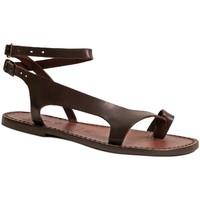 Pantofi Femei Sandale  Gianluca - L'artigiano Del Cuoio 526 D MORO CUOIO Testa di Moro