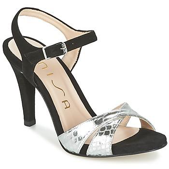 Pantofi Femei Sandale  Unisa WARIAN Negru / Argintiu