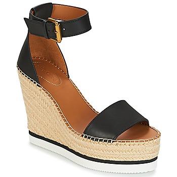 Încăltăminte Femei Sandale și Sandale cu talpă  joasă See by Chloé SB26152 Negru / Alb