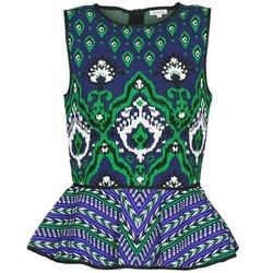 Îmbracaminte Femei Maiouri și Tricouri fără mânecă Manoush JACQUARD OOTOMAN Albastru / Negru / Verde