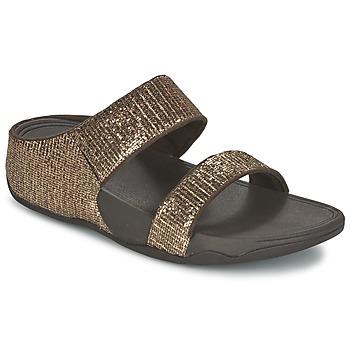 Pantofi Femei Papuci de vară FitFlop LULU SUPERGLITZ SLIDE Bronz