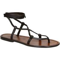 Pantofi Femei Sandale  Gianluca - L'artigiano Del Cuoio 518 D MORO CUOIO Testa di Moro