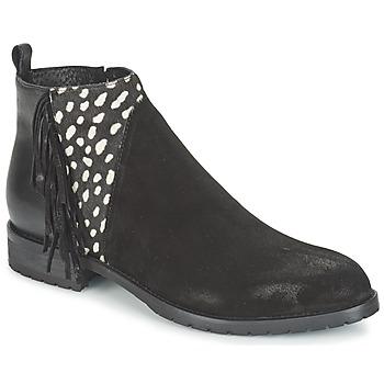 Pantofi Femei Ghete Meline VELOURS NERO PLUME NERO Negru / Alb