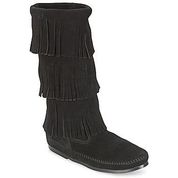 Pantofi Femei Cizme casual Minnetonka CALF HI 3 LAYER FRINGE BOOT Negru