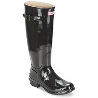 Pantofi Femei Cizme de ploaie Hunter ORIGINAL TALL GLOSS Negru