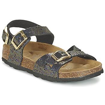 Încăltăminte Fete Sandale și Sandale cu talpă  joasă Betula Original Betula Fussbett JEAN Negru / Auriu
