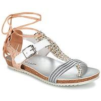 Încăltăminte Femei Sandale și Sandale cu talpă  joasă Regard RABALU Alb / Bej / șarpe
