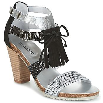 Pantofi Femei Sandale și Sandale cu talpă  joasă Regard RIKA Argintiu / Negru