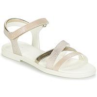 Pantofi Fete Sandale și Sandale cu talpă  joasă Geox J S.KARLY G.D Bej / Auriu
