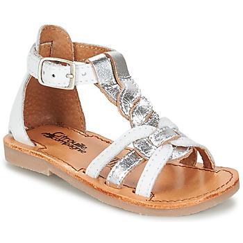 Pantofi Fete Sandale  Citrouille et Compagnie GITANOLO Alb / Argintiu