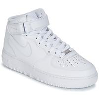 Încăltăminte Bărbați Pantofi sport stil gheata Nike AIR FORCE 1 MID 07 LEATHER Alb