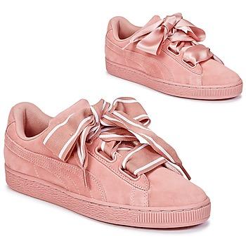 Încăltăminte Femei Pantofi sport Casual Puma Basket Heart Satin Roz