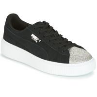 Încăltăminte Femei Pantofi sport Casual Puma SUEDE PLATFORM GLAM JR Negru / Argintiu