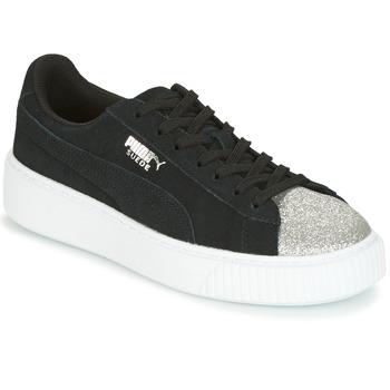 Pantofi Femei Pantofi sport Casual Puma SUEDE PLATFORM GLAM JR Negru / Argintiu