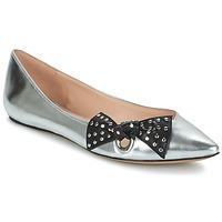 Pantofi Femei Balerin și Balerini cu curea Marc Jacobs RITA POINTY TOE Argintiu
