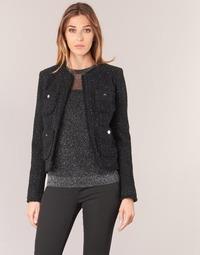 Îmbracaminte Femei Sacouri și Blazere MICHAEL Michael Kors FRAY TWD 4PKT JKT Negru / Argintiu