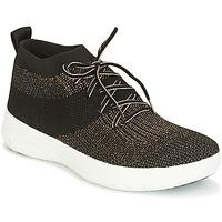 Pantofi Femei Pantofi sport stil gheata FitFlop UBERKNIT SLIP-ON HIGH TOP SNEAKER Negru / Bronz
