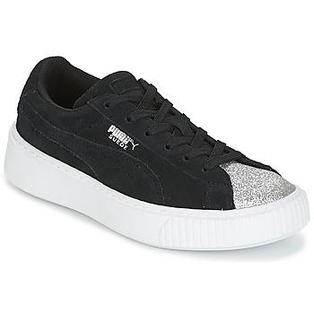 Pantofi Fete Pantofi sport Casual Puma SUEDE PLATFORM GLAM PS Negru / Argintiu