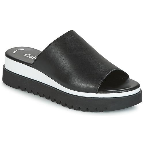 Pantofi Femei Papuci de vară Gabor SORIEUX Negru / Alb