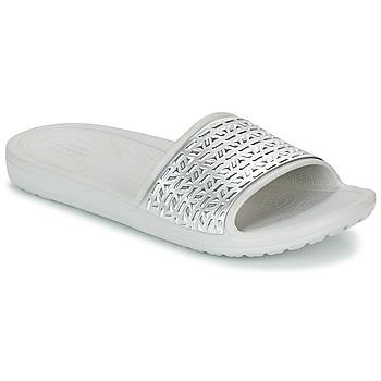 Pantofi Femei Șlapi Crocs SLOANE GRAPHIC ETCHED SLIDE W Alb / Argintiu