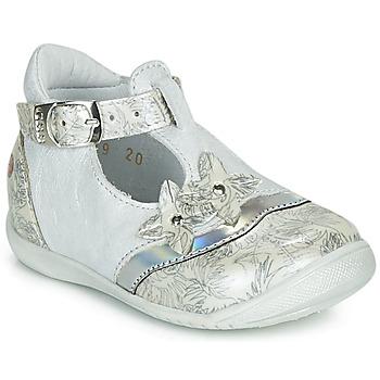 Pantofi Fete Balerin și Balerini cu curea GBB SELVINA Alb / Argintiu
