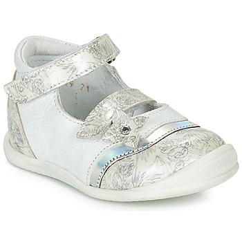 Pantofi Fete Balerin și Balerini cu curea GBB STACY Alb / Argintiu
