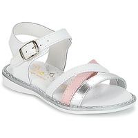 Pantofi Fete Sandale și Sandale cu talpă  joasă Citrouille et Compagnie IZOEGL Alb / Argintiu / Roz