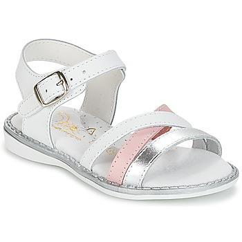 Pantofi Fete Sandale  Citrouille et Compagnie IZOEGL Alb / Argintiu / Roz