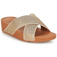 Încăltăminte Femei Papuci de vară FitFlop CRYSTAL II SLIDE SANDALS Auriu
