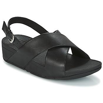 Pantofi Femei Sandale și Sandale cu talpă  joasă FitFlop LULU CROSS BACK-STRAP SANDALS - LEATHER Black