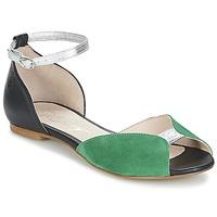 Încăltăminte Femei Sandale și Sandale cu talpă  joasă Betty London INALI Negru / Argintiu / Verde