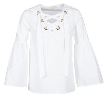 Îmbracaminte Femei Topuri și Bluze MICHAEL Michael Kors POPLIN GRMT LCE UP T. Alb