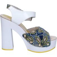 Pantofi Femei Sandale  Suky Brand sandali bianco tessuto blu vernice AC487 Bianco