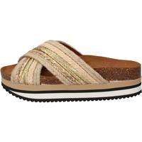 Pantofi Femei Șlapi 5 Pro Ject sandali beige tessuto oro AC586 Beige