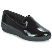 Pantofi Femei Mocasini FitFlop AUDREY SMOKING SLIPPERS CRINKLE PATENT Negru