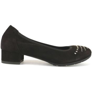 Pantofi Femei Balerin și Balerini cu curea Calpierre decolte t. moro camoscio swarovski AJ377 Marrone